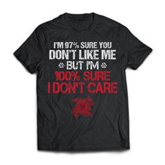 Viking T-shirt, I don't care, frontApparel[Heathen By Nature authentic Viking products]Next Level Premium Short Sleeve T-ShirtBlackX-Small