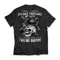 Viking T-shirt, Survive, Struggle, BackApparel[Heathen By Nature authentic Viking products]Next Level Premium Short Sleeve T-ShirtBlackX-Small