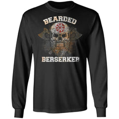 Viking Tshirt Apparel, Bearded Berserker, FrontApparel[Heathen By Nature authentic Viking products]Long-Sleeve Ultra Cotton T-ShirtBlackS