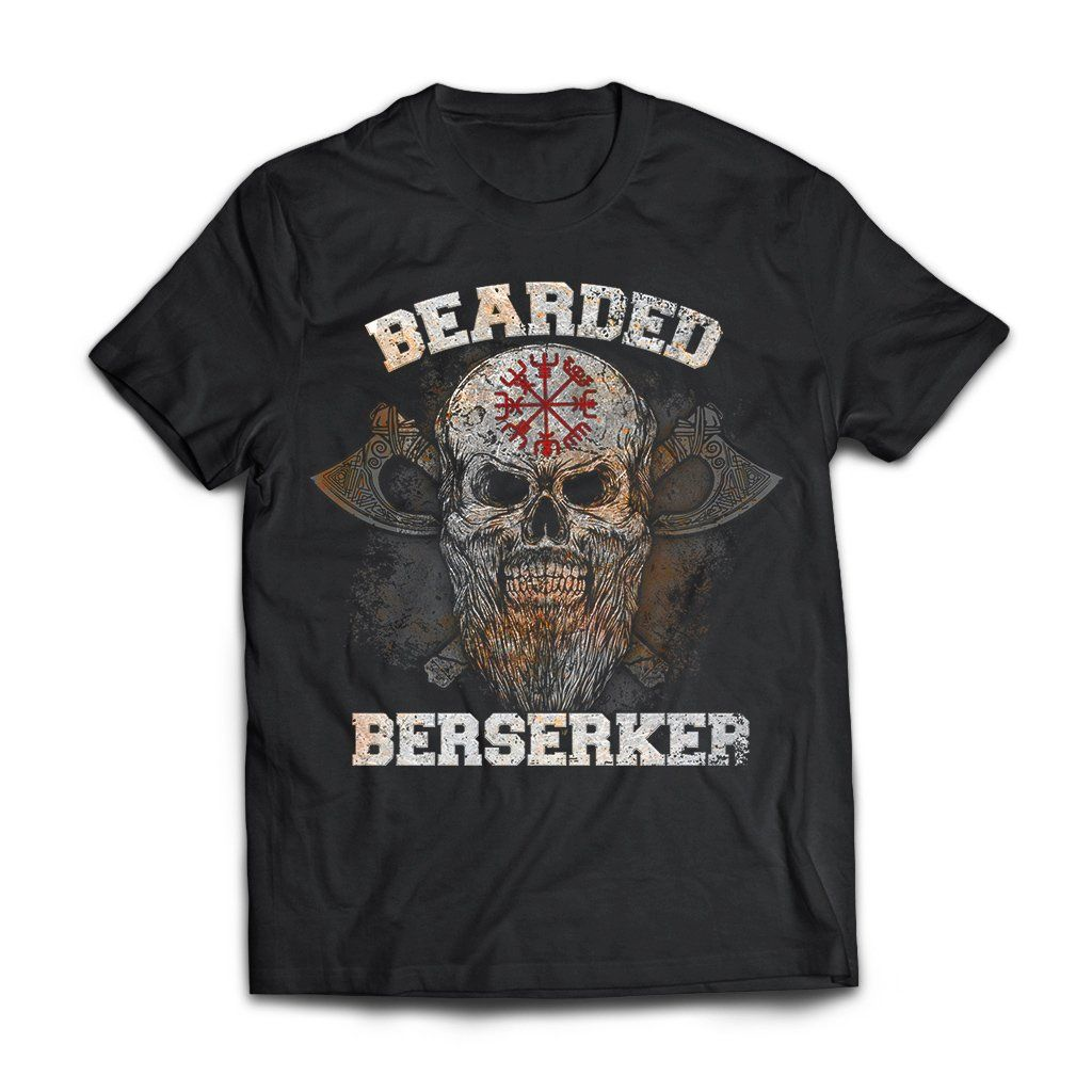 Viking Tshirt Apparel, Bearded Berserker, FrontApparel[Heathen By Nature authentic Viking products]Next Level Premium Short Sleeve T-ShirtBlackX-Small