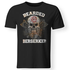 Viking Tshirt Apparel, Bearded Berserker, FrontApparel[Heathen By Nature authentic Viking products]Premium Men T-ShirtBlackS