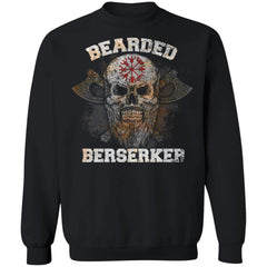 Viking Tshirt Apparel, Bearded Berserker, FrontApparel[Heathen By Nature authentic Viking products]Unisex Crewneck Pullover SweatshirtBlackS