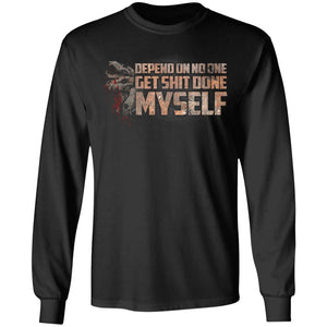 Viking Tshirt Apparel, Depend On No One, FrontApparel[Heathen By Nature authentic Viking products]Long-Sleeve Ultra Cotton T-ShirtBlackS