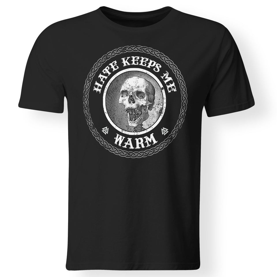 Viking Tshirt Apparel, Hate Keeps Me Warm FrontApparel[Heathen By Nature authentic Viking products]Premium Men T-ShirtBlackS