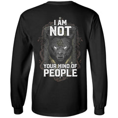 Viking Tshirt Apparel, I Am Not Your Kind Of People, BackApparel[Heathen By Nature authentic Viking products]Long-Sleeve Ultra Cotton T-ShirtBlackS