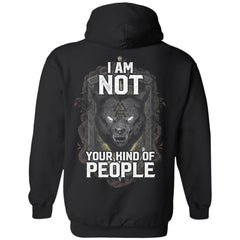 Viking Tshirt Apparel, I Am Not Your Kind Of People, BackApparel[Heathen By Nature authentic Viking products]Unisex Pullover HoodieBlackS