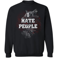 Viking Tshirt Apparel, I Hate People, FrontApparel[Heathen By Nature authentic Viking products]Unisex Crewneck Pullover SweatshirtBlackS