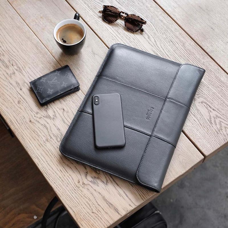 "handmade luxury leather laptop imac sleeve 13"" details"