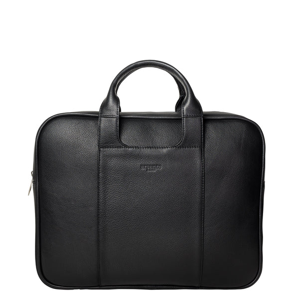 handmade luxury leather classic briefcase front