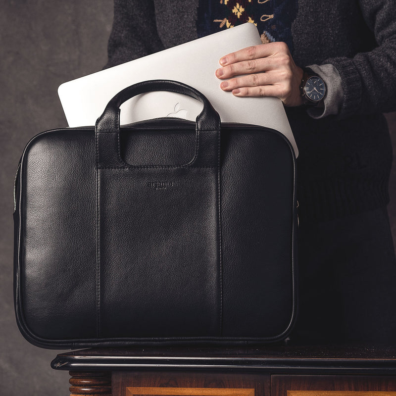 handmade luxury leather classic business briefcase with laptop storage up to 15""