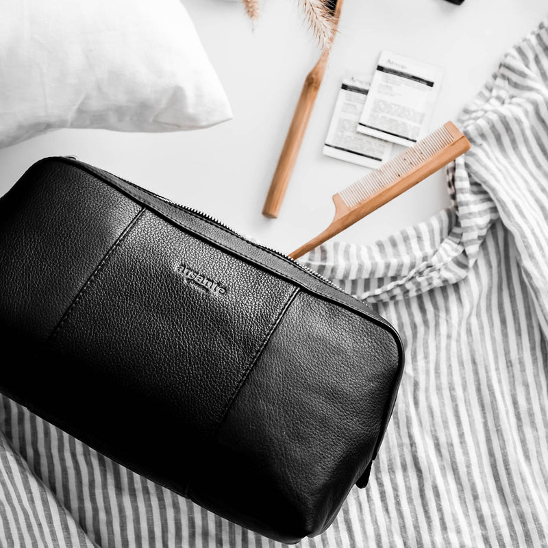 handmade luxury leather toiletry bag for any occasion