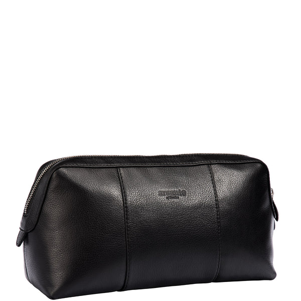 handmade luxury leather toiletry bag angle