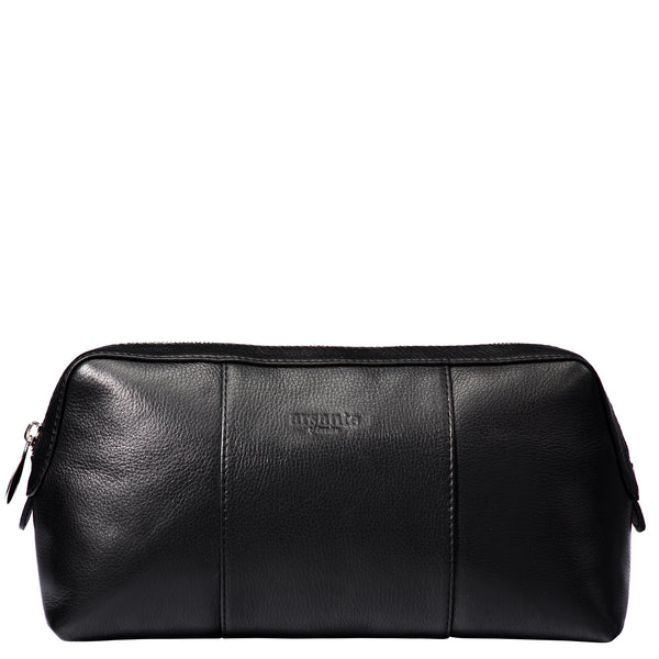 handmade luxury leather toiletry bag front