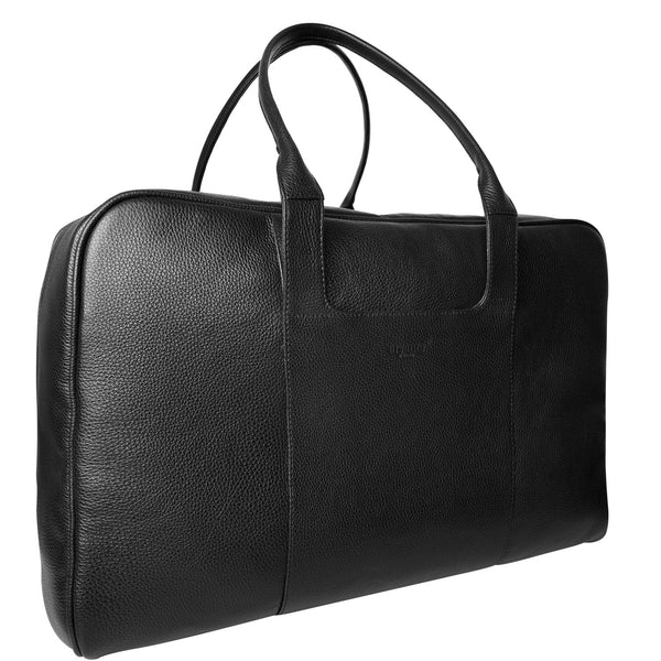 handmade luxury leather weekend cabin bag angle