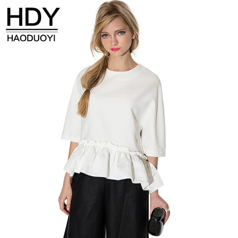 HDY Haoduoyi 2016 Summer New Women Elegant Ruffle Tee Shirt Asymmetric Top Summer Draped Ladies Blouse