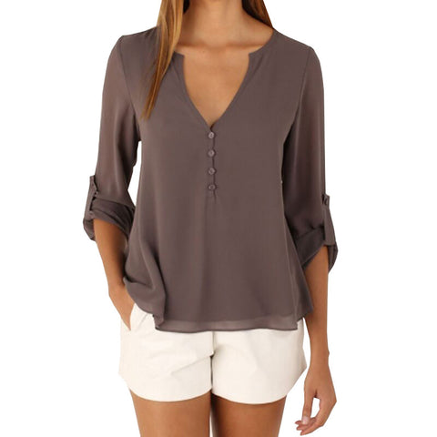 Women Chiffon Blouses Sexy Long Sleeve V-Neck Shirts Female Plus Size Tops Blusas Femininas Casual feminina camisas B6116