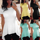 Plus Size S-4XL Blusas 2017 Summer Top Women Short Sleeve Blouse Sexy Casual O Neck Irregular Hem Slim Fit Bodycon Shirts