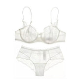 Pretty Mary Women Embroidery Bra Hollow Out See Though Lace Bra and Panties Sets Sexy Lingerie Lace Underwear A B C D Cup