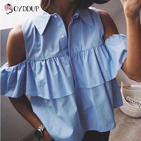 2017 Summer Women Off the Shoulder Ruffles Blouse Shirts Turn Down Collar Casual Sexy Tops Chemise Femme Work Office Blusas