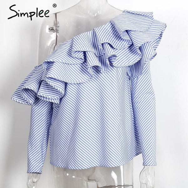 Simplee One shoulder ruffles blouse shirt women tops 2016 autumn Casual blue striped shirt Long sleeve cool blouse winter blusas