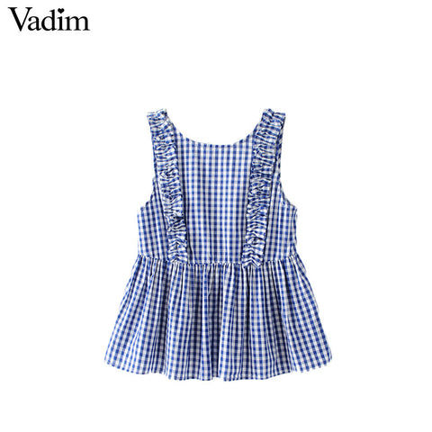 Vadim Women Sweet Ruffles Plaid Pleated Shirts Buttons Sleeveless Backless Checked Blouse Ladies Sum