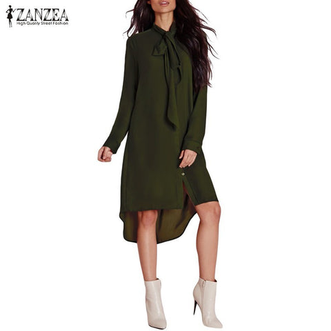 ZANZEA Fashion Blusas Femininas 2017 Women Shirt Vestido Bow Long Sleeve Casual Amsymetircal Chiffon Blouse Tops Plus Size S-5XL