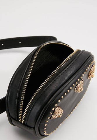 Trendy & Tested Studded Bum Bag Black Open