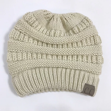 Load image into Gallery viewer, Messy Bun Knitted Beanie