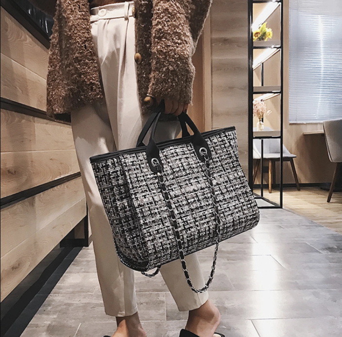 Rene Tweed Tote In Black