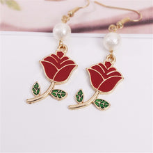 Load image into Gallery viewer, Enchanted Red Rose Earrings