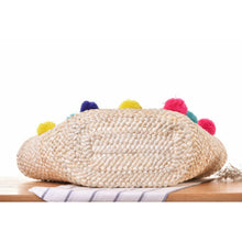 Load image into Gallery viewer, PomPom Straw Tote