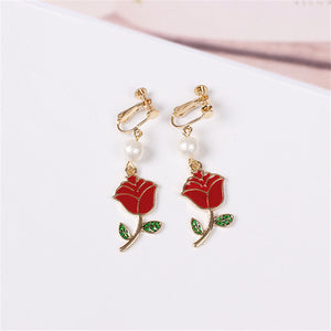 Enchanted Red Rose Earrings