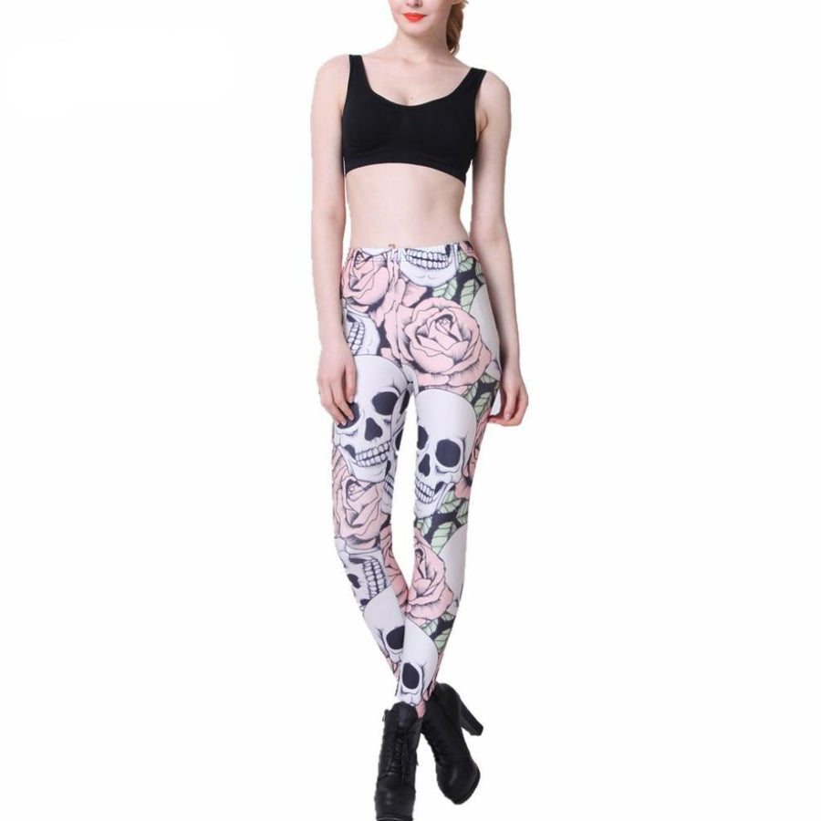 Skull & Rose Printed Leggings