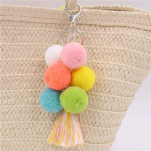Load image into Gallery viewer, Rainbow Tassels Pompom Bag Charm