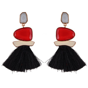 Amela Chunky Drop Tassel Earrings