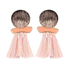Load image into Gallery viewer, Chrome N Tassel Earrings