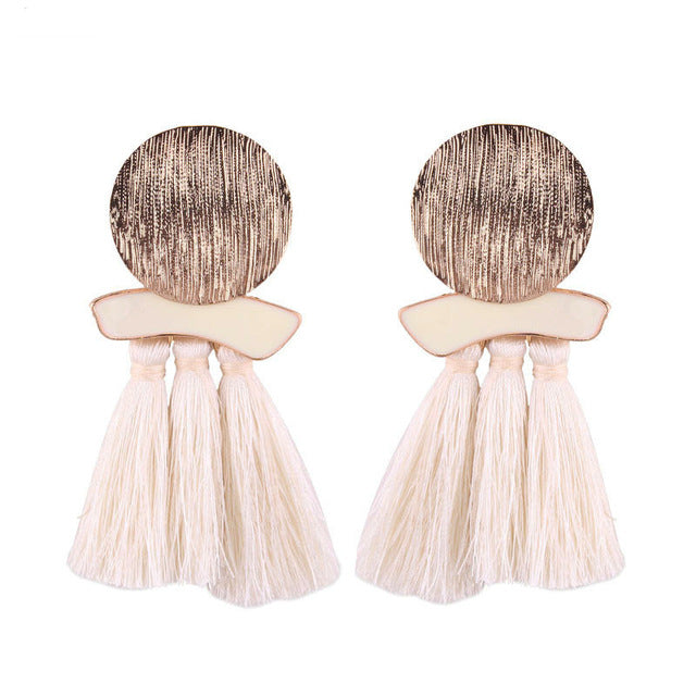 Chrome N Tassel Earrings