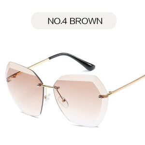 Rimless Diamond Cutting Lens Sunglasses