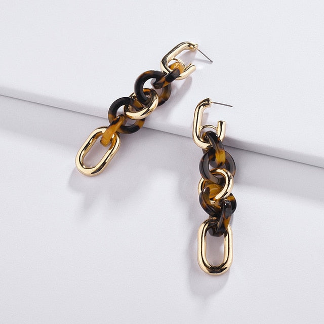 Leopard Chunky Hanging Drop Earrings