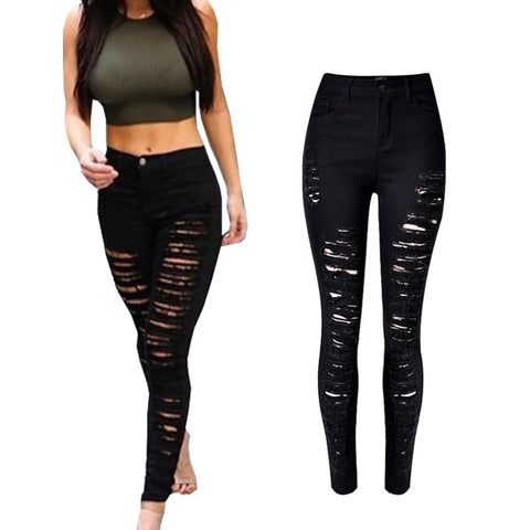 Skinny Jeans Woman High Waist Ripped Jeans For Women Denim Pencil Pants Slim Trousers