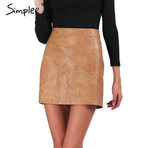 High waist classic faux leather skirt Chic slim bodycon pencil skirts Casual black short skirt