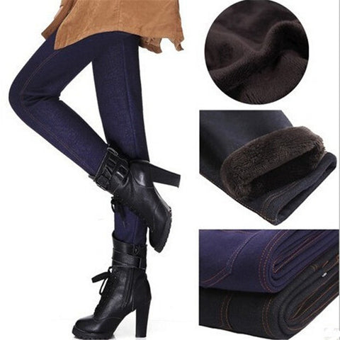 Women's Thickening Pants Imitation Jeans Fashion Warm Trousers For Women With Pocket