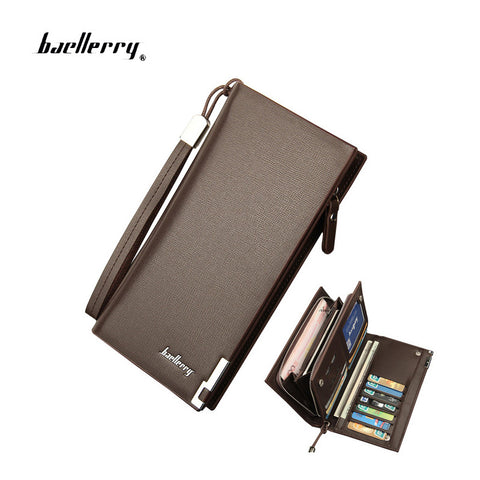 Men's Wallets Solid PU Leather Long Wallet Portable Cash Purses