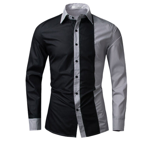 Men  Long Sleeve  Shirts Men Casual  Slim Fit Fashion Spell Color Chemise Men's  Shirts