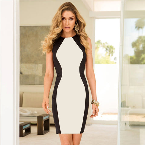 New Sleeveless Vest Dresses Plus Size Black And White Splice Sexy Dress Vintage Office Dress