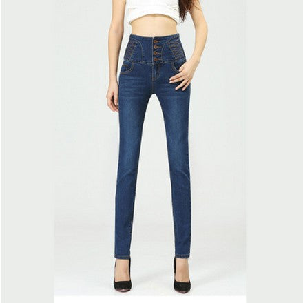New Big Yards Breasted Waist Jeans Casual Slim Was Thin Pencil Pants Trousers For Women