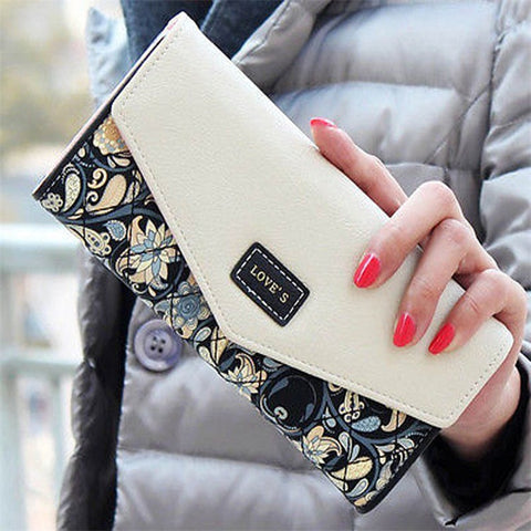 Envelope Women Wallet Hit Fold Flowers Printing Leather Wallet Long Purse Coin Pocket Card Holder