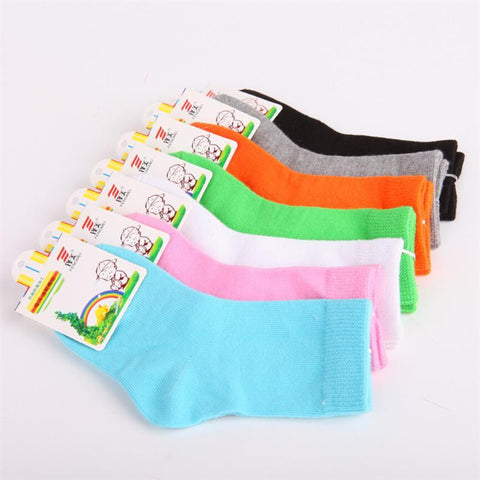 Children Cotton Socks For Girls/ Boys Candy Color Short Socks