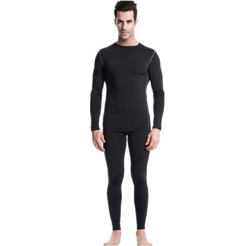 Men's Thermal Fleece Underwear Set Compression Tight Top & Bottom Warm Lined Long Johns