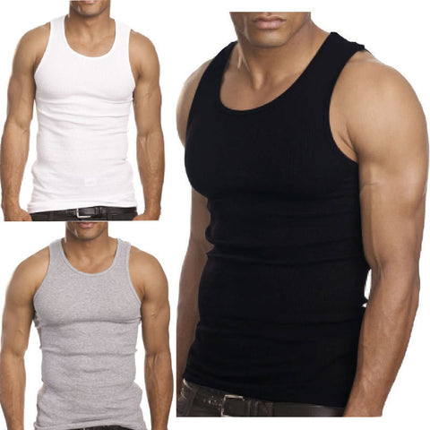 Muscle Men Top Quality Premium Cotton A Shirt Ribbed Tank Top